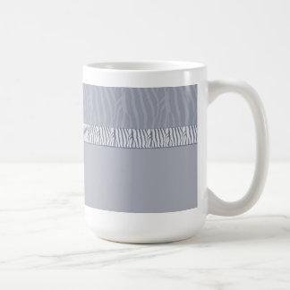 Silver Grey Zebra Fur Print Coffee Mugs