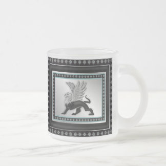 Silver Griffin Frosted Glass Coffee Mug