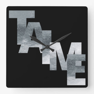 Silver Grungy Modern Skcript Time Wall Clocks