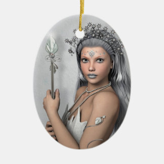 Silver hair girl with sword ceramic oval decoration