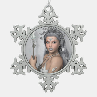 Silver hair girl with sword pewter snowflake decoration