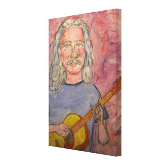 silver haired folk rocker stretched canvas print