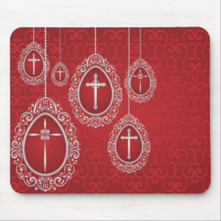 Silver hanging Easter eggs with crosses Mouse Mat