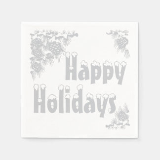 Silver Happy Holidays Typography Paper Napkin