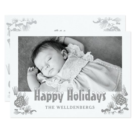 Silver Happy Holidays Typography Photo Card