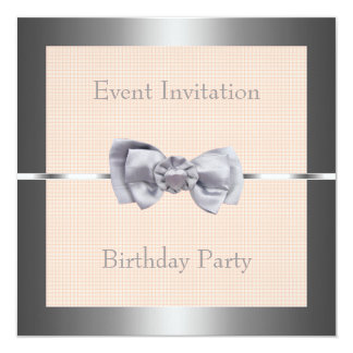 Silver Heart Bow Pale Orange Check Event Party Personalized Announcement