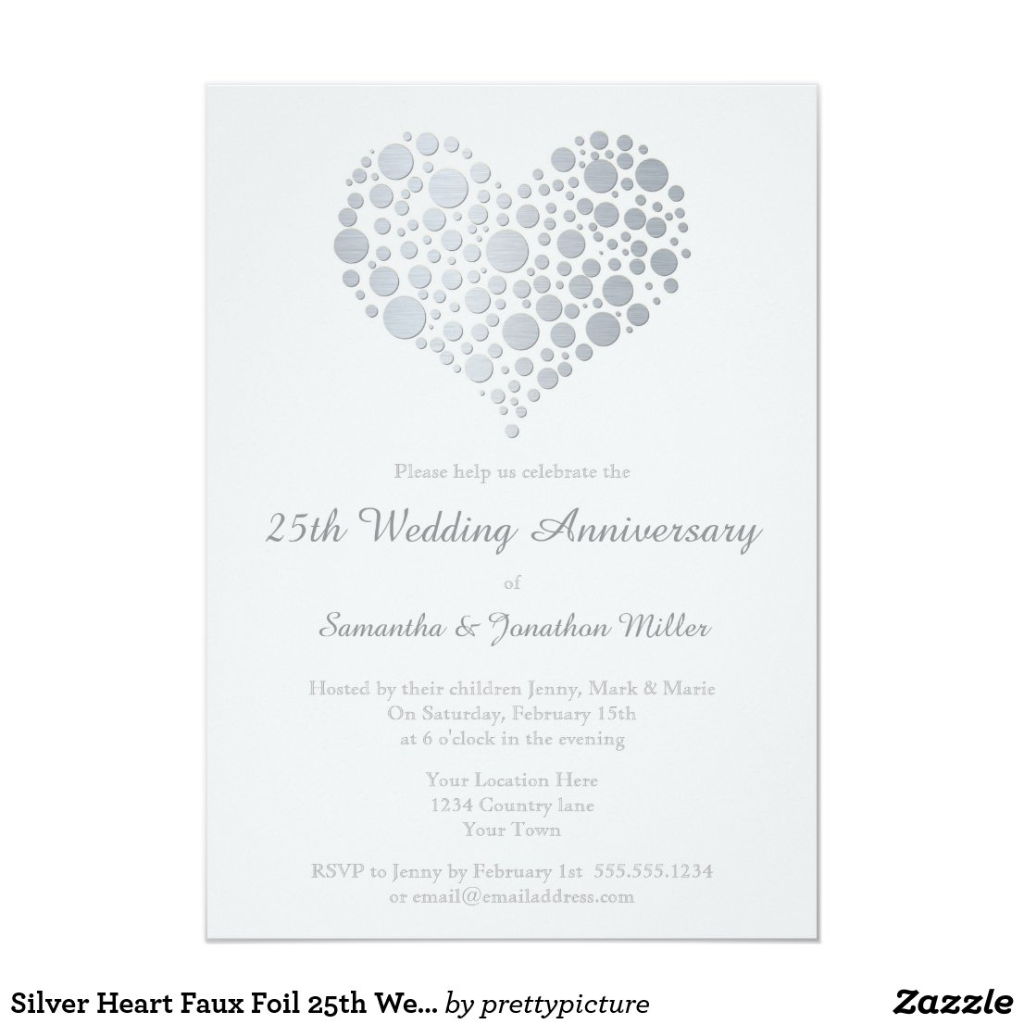 Silver Heart Faux Foil 25th Wedding Anniversary