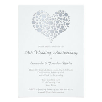Silver Heart Faux Foil 25th Wedding Anniversary 13 Cm X 18 Cm Invitation Card