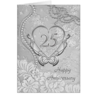 Silver heart, floral lace 25th Wedding Anniversary Greeting Card
