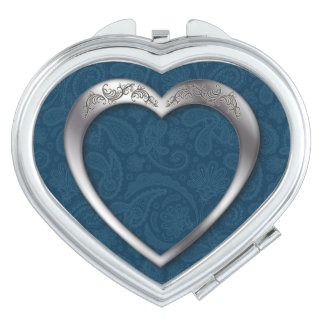Silver Heart on Blue - Heart Compact Mirror Vanity Mirrors