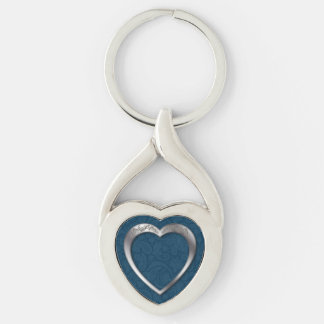 Silver Heart on Blue - Key Chain Silver-Colored Twisted Heart Key Ring