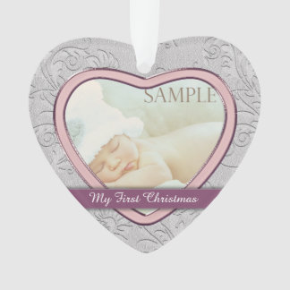 Silver Heart Pink Baby Girl First Christmas Ornament
