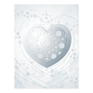 Silver heart, postcard