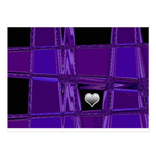 Silver Heart Purple Background Post Card