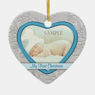 Silver Heart Swirl Baby Boy First Christmas Ceramic Heart Decoration