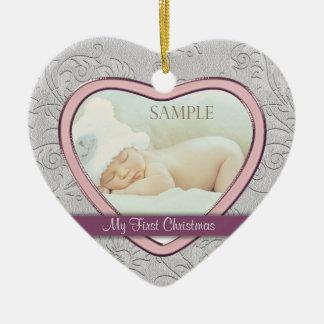 Silver Heart Swirl Baby Girl First Christmas Christmas Ornament