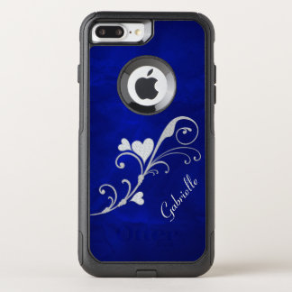 Silver Heart Swirl on Blue OtterBox Commuter iPhone 8 Plus/7 Plus Case