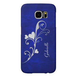 Silver Heart Swirl Sparkle on Blue Samsung Galaxy S6 Cases
