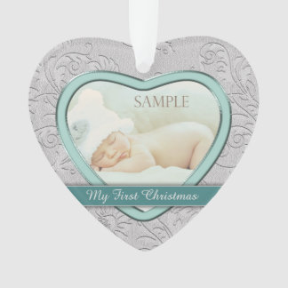 Silver Heart Teal Baby First Christmas Ornament