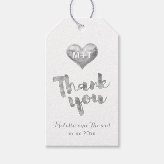 silver heart thank you calligraphy wedding gift tags