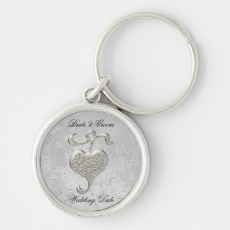 Silver Heart Wedding Favor Silver-Colored Round Key Ring