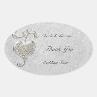 Silver Heart  Wedding Oval Sticker