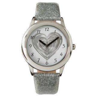 Silver heart wristwatch
