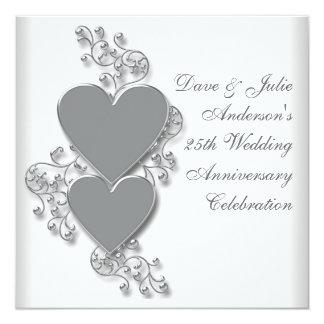 Silver Hearts 25th Wedding Anniversary Party 13 Cm X 13 Cm Square Invitation Card