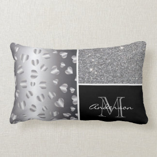Silver Hearts Black Glitter Collage Lumbar Pillow