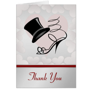 Silver Hearts Black Top Hat and High Heels Note Card