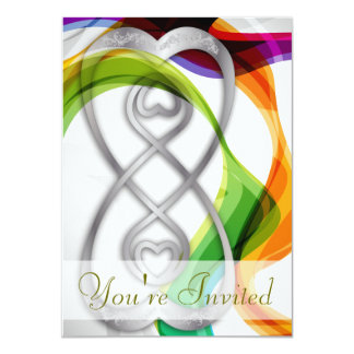 Silver Hearts Double Infinity & Rainbow Ribbons- 1 11 Cm X 16 Cm Invitation Card