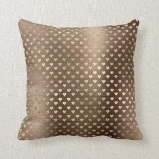 Silver Hearts Gray Metallic Maroon Sepia Cushion