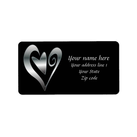 Silver  hearts on Black Address Label