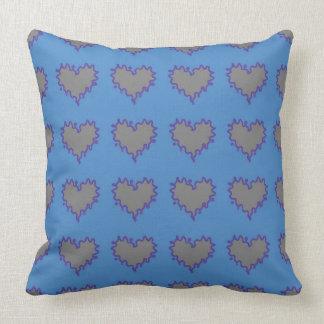 Silver Hearts on Blue Throw Pillow Throw Cushions