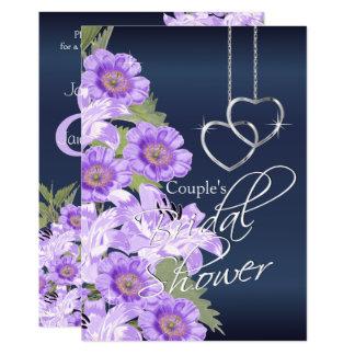 Silver Hearts on Lavender & Navy Satin -Invitation Card