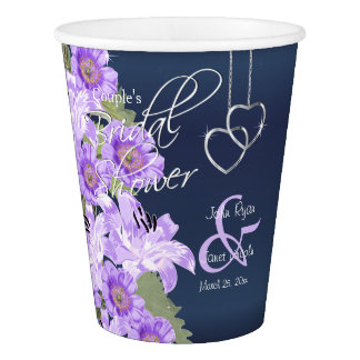 Silver Hearts on Lavender & Navy Satin Paper Cup