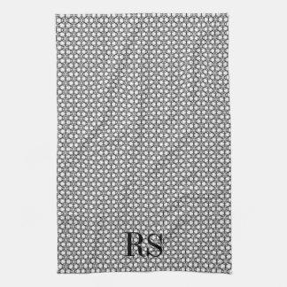 Silver Hexagon Pattern: Monogram Kitchen Decor Tea Towel