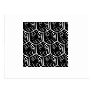 Silver hexagonal optical illusion postcard