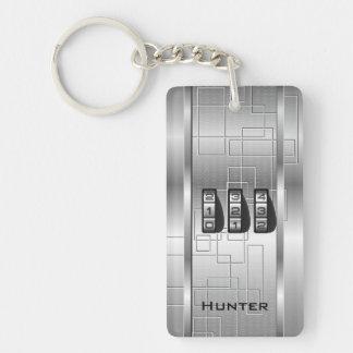 Silver Hi-Tech Code Locker Double-Sided Rectangular Acrylic Key Ring