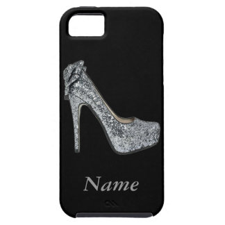 Silver High Heels Customize add Text Tough iPhone 5 Case