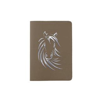 Silver Horse Head Brown Passport Holder