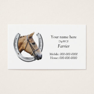 Silver horseshoe with a horse's head inside business card
