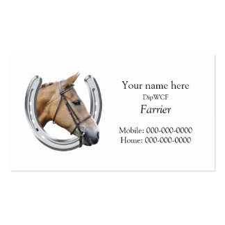 Silver horseshoe with a horse's head inside pack of standard business cards