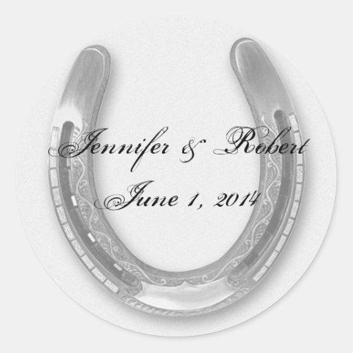 Silver Horseshow on White Wedding Envelope Seal Sticker