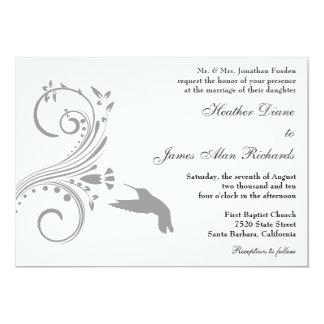 Silver Hummingbird Wedding Invitation