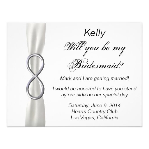 Silver Infinity White Wedding Bridesmaid Card