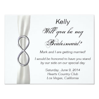 Silver Infinity White Wedding Bridesmaid Card Announcements