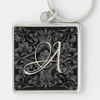 Silver Initial Black Renaissance Keychain