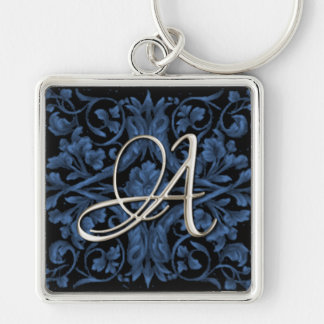 Silver Initial Blue Renaissance Keychain