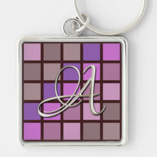 Silver Initial Color Block Keychain